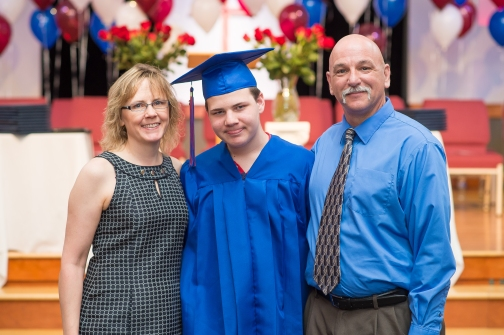 Karen Warfle with her husband Mark and son Nick at Nick's graduation